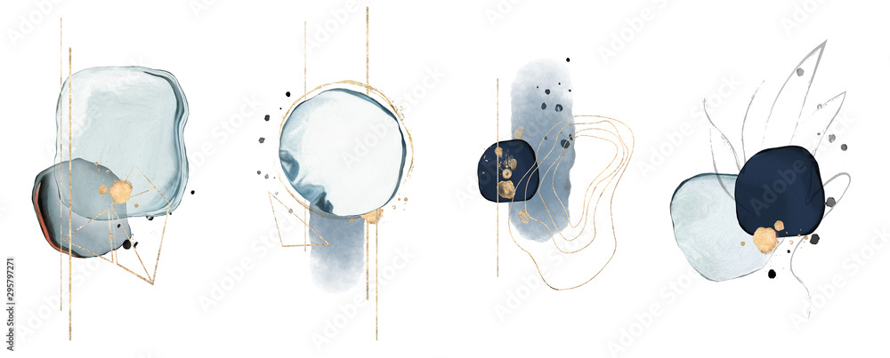 Fototapeta blue watercolor Illustration and gold,  isolated on white background. Abstract modern  print. logo