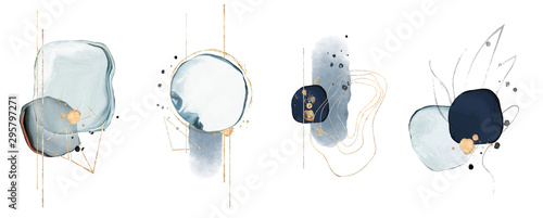 blue watercolor Illustration and gold, isolated on white background. Abstract modern print. logo
