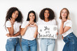 Women multiracial friends holding blank with compliments text.