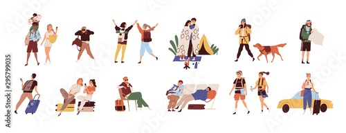 Tourists on vacation flat vector illustrations set Poster Mural XXL