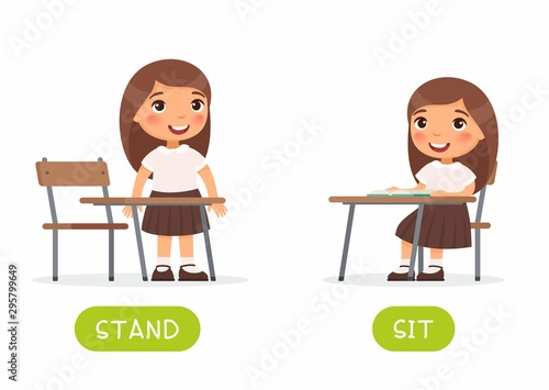 Pinturas sobre lienzo  Educational word card with schoolkid vector template
