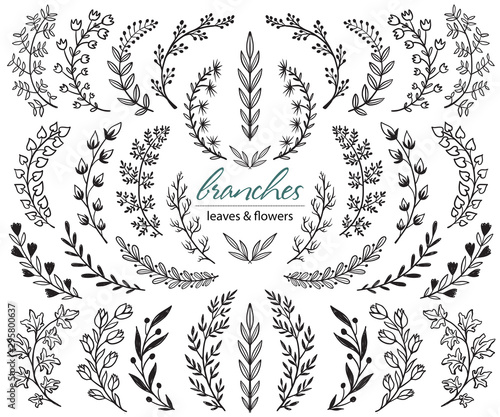 Valokuvatapetti Big set of hand drawn vector plants and branches with leaves, flowers, berries