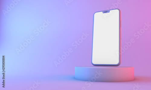 Leinwand Poster  Smartphone mockup with blank white screen with neon lighting