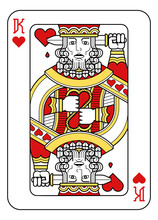 A Playing Card King Of Hearts In Red, Yellow And Black From A New Modern Original Complete Full Deck Design. Standard Poker Size