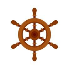 Ship Steering Wheel Icon. Flat Illustration Of Ship Steering Wheel Vector Icon For Web Design