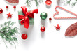 Christmas holiday composition. Xmas decorations on white background. Christmas, New Year, winter concept. Flat lay, top view, copy space