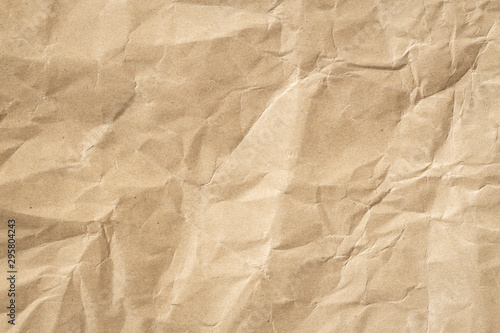 Obraz Recycle brown paper crumpled texture, Old paper surface for background. - fototapety do salonu