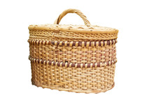 Wicker Basket With Lid Isolated On White Background.