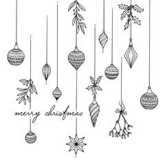 Hand drawn black and white Christmas tree decoration