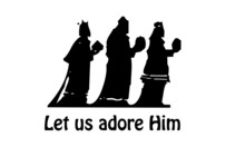 Christmas Card, Let Us Adore Him, Typography For Print Or Use As Poster, Card, Flyer Or T Shirt