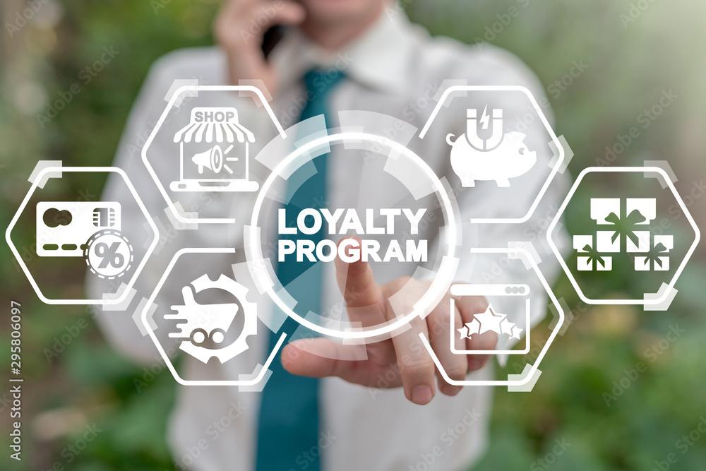 Fototapeta Loyalty Program Shopping Earn Points Return Money concept. Businessman touches loyalty program word's button on virtual screen.