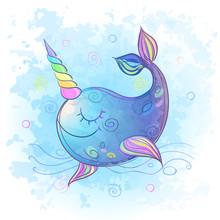 Cute Fabulous Unicorn Whale. Watercolor Vector