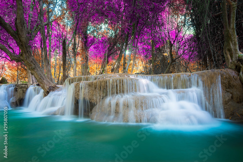 Amazing in nature, beautiful waterfall at colorful autumn forest in fall season - 295807055