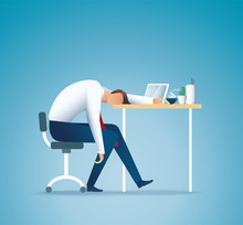 Sleeping At Work. Tired Busine...