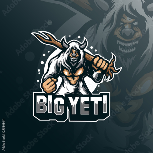 yeti mascot logo design vector with modern illustration concept style for badge, emblem and tshirt printing Canvas Print
