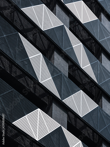 Steel Facade Modern building Metal sheet grill pattern Architecture details
