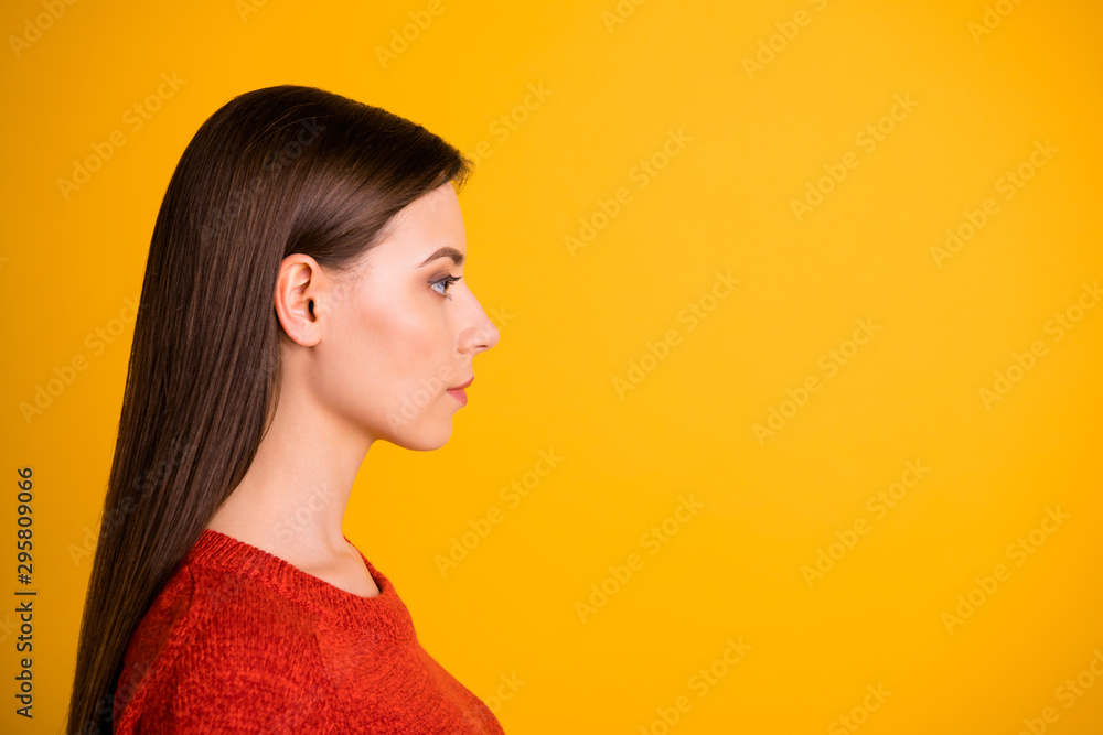 Fototapety, obrazy: Photo of puzzled creative serious manager staring into empty space thoughtfully with confident strict facial expression isolated over vivid color background