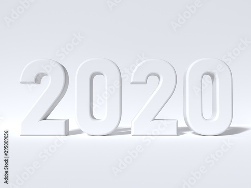 Fotografía  white scene minimal 2020 3d render type number