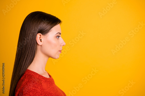 Door stickers Hair Salon Photo of puzzled creative serious manager staring into empty space thoughtfully with confident strict facial expression isolated over vivid color background