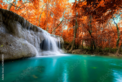Staande foto Watervallen Amazing in nature, beautiful waterfall at colorful autumn forest in fall season