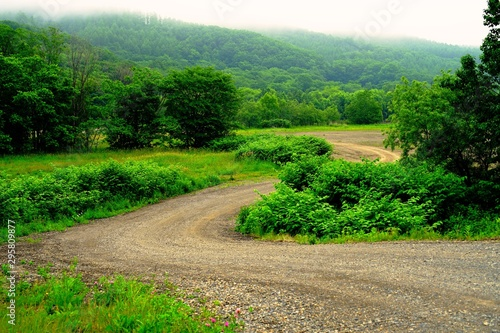 北海道、田舎 Billede på lærred