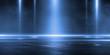 3D rendering abstract dark empty scene blue neon searchlight light wet asphalt smoke night view rays.