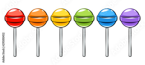 Fotografia, Obraz Colorful lollipops candies set in cartoon style.