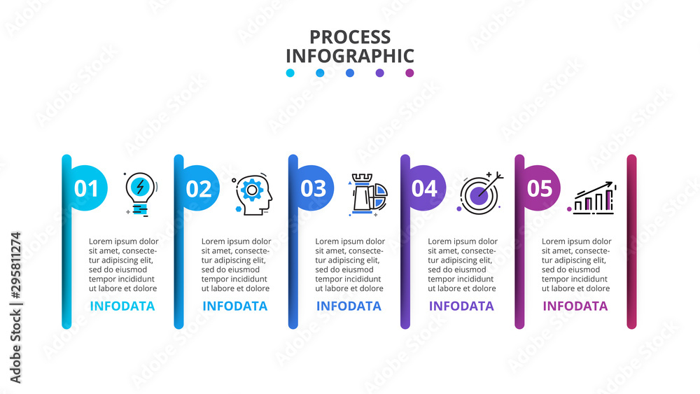 Fototapety, obrazy: Creative concept for infographic. Business data visualization. Process chart. Abstract elements with 5 steps, options, parts or processes. Vector business template for presentation.