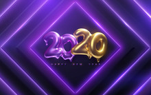 Happy New 2020 Year. Holiday Vector Illustration Of Golden And Purple Melted Metallic Numbers 2020 On Neon Geometric Background. Realistic 3d Sign. Festive Poster Or Banner Design