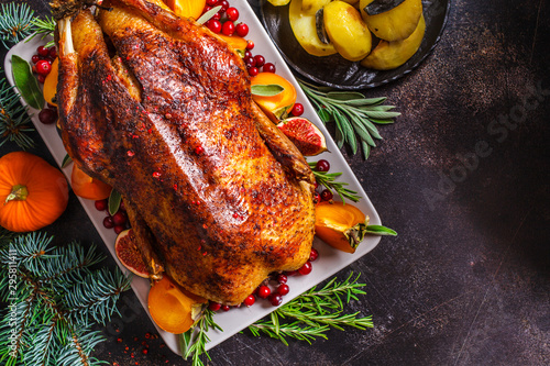 Christmas baked duck with herbs and fruits on gray plate, dark background Wallpaper Mural