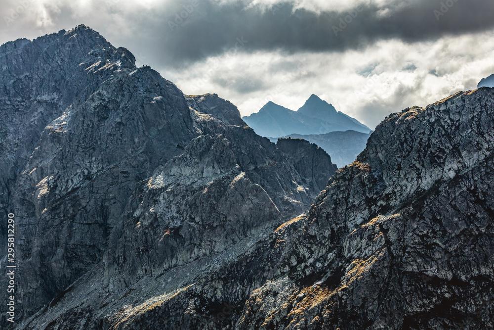 High mountain peaks. Tatra Mountains in Poland. View from Koscielec