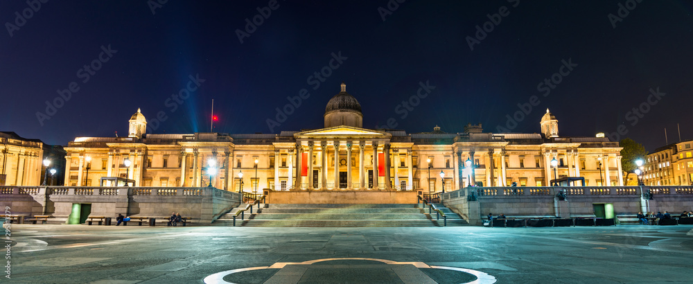The National Gallery on Trafalgar Square in London, England