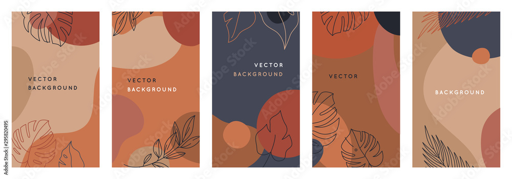 Fototapeta Vector set of abstract creative backgrounds in minimal trendy style with copy space for text - design templates for social media stories - simple, stylish and minimal wallpaper designs