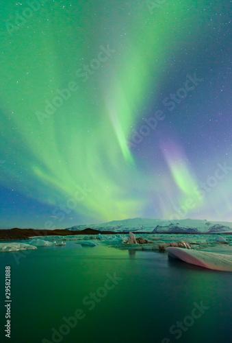 Photo Stands Northern lights Northern lights, Jokulsarlon glacier lagoon, Southern Iceland, Iceland, Europe