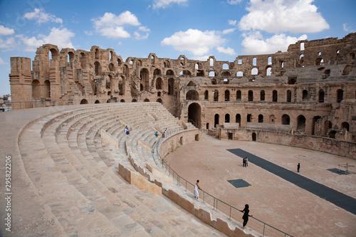 Vászonkép El Djem roman colosseum in Tunisia, UNESCO world heritage site