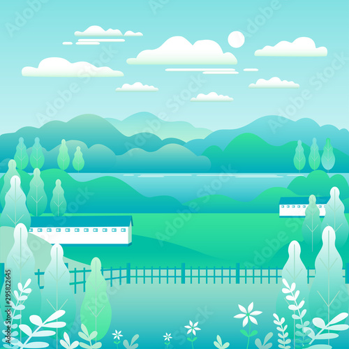 Aluminium Prints Green coral Hills and mountains landscape, house farm in flat style design. Outdoor panorama countryside illustration. Green field, tree, forest, blue sky and sun. Rural location, cartoon vector background