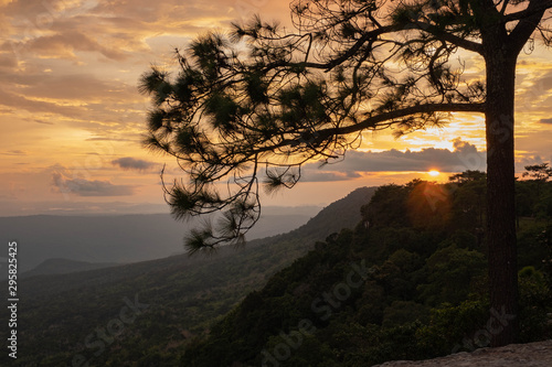 Famous place in Thailand (Sunset at Phukadueng National park)