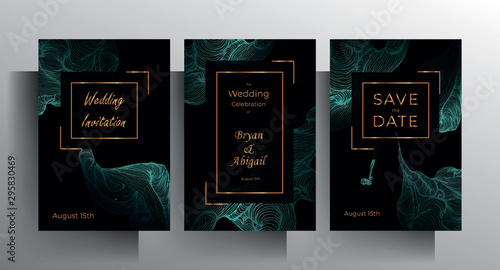 Fototapeta Design wedding invitation template set. Turquoise texture elements and golden frames on a black background are hand-drawn. Vector 10 EPS. obraz