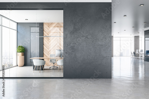 Obraz Modern office interior with empty poster - fototapety do salonu