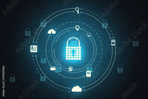 Photo sur Toile Pays d Asie Login and protection padlock backdrop