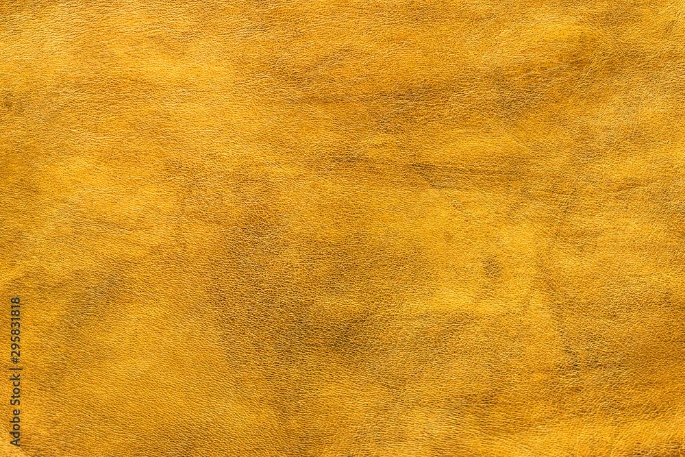 Fototapeta Texture cuir jaune doré