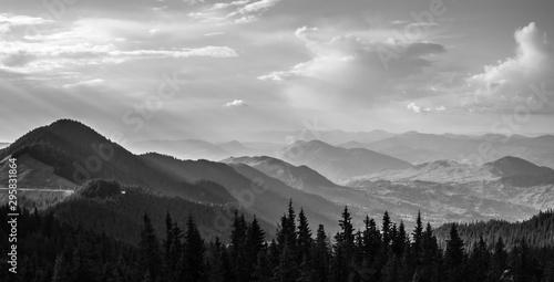 Foto auf AluDibond Rosa dunkel The Carpathians Rarau Mountains Pietrele Doamnei Romania landscape springtime clouds sunset beautiful view
