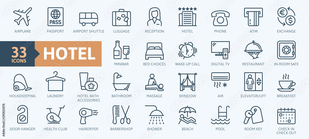 Fototapeta Hotel elements - thin line web icon set. Outline icons collection. Simple vector illustration.