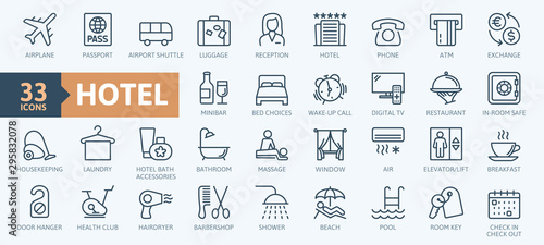 Fototapeta Hotel elements - thin line web icon set. Outline icons collection. Simple vector illustration. obraz
