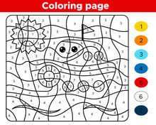 Number Coloring Page For Preschool Children. Cute Cartoon Kawaii Ship. Learn Numbers And Colors. Educational Game.