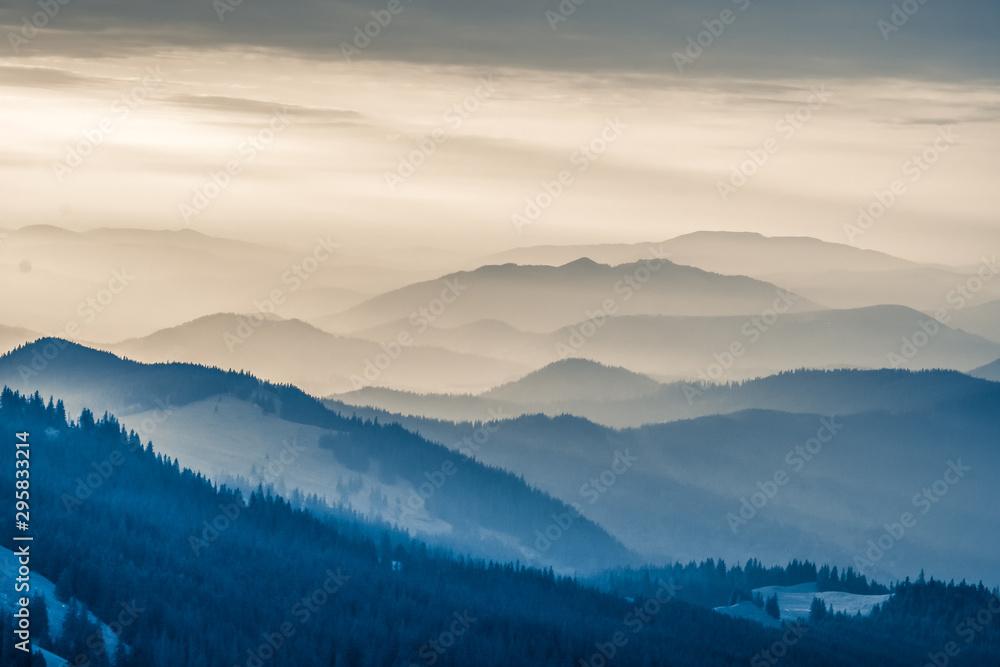 Fototapety, obrazy: The Carpathians Rarau Mountains Romania landscape springtime clouds sunrise beautiful view