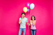 Leinwandbild Motiv Photo of funny guy and lady holding air balloons arms on cheeks not believe unexpected surprise from friends wear casual outfit isolated pink color background