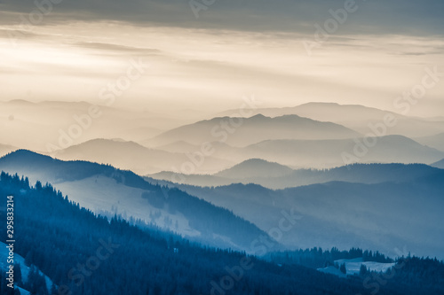 La pose en embrasure Beige The Carpathians Rarau Mountains Romania landscape springtime clouds sunrise beautiful view