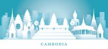 Cambodia Skyline Landmarks In Paper Cutting Style