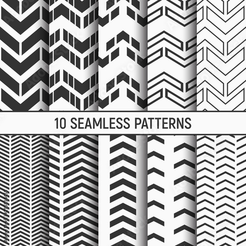 Photo Set of ten seamless patterns of arrows